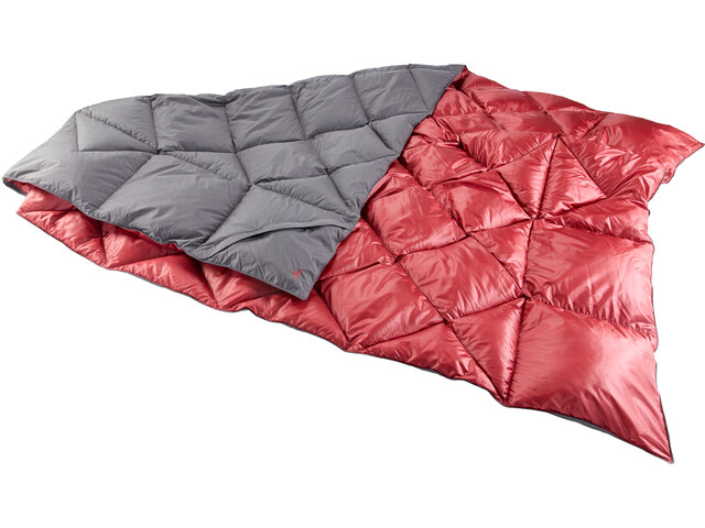 Y by Nordisk Kiby Packable Down Blanket 200x140cm, coal grey/cranberry red